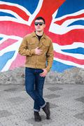 Male model on british background Stock Photos