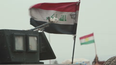 Iraqi flag with Kurdistan flag - Mosul Offensive - Kurdistan, Iraq Stock Footage