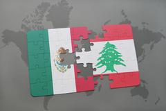Puzzle with the national flag of mexico and lebanon on a world map background Kuvituskuvat