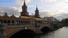 Berlin 4K - Oberbaum Bridge in Kreuzberg with Trains Stock Footage