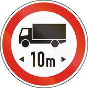 Road sign used in Hungary - No vehicles or combination of vehicles exceeding  Stock Illustration