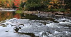 4K UltraHD River rapids in Algonquin, Canada in the fall Stock Footage