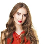 Happy beautiful brunette woman in red blouse Stock Photos