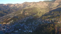 Establishing aerial shot of Akaroa, New Zealand Stock Footage