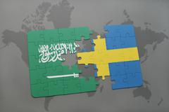 Puzzle with the national flag of saudi arabia and sweden on a world map backg Stock Photos