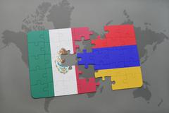Puzzle with the national flag of mexico and armenia on a world map background Stock Photos
