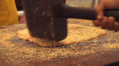 Preparing Chinese peanut snack Stock Footage