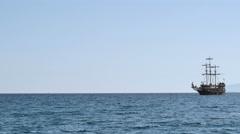 Old carvel in Mediterranean Sea Stock Footage