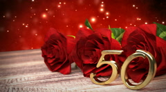 Seamless loop birthday background with red roses on wooden desk. fiftieth Stock Footage