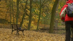 International Animation Day in Opole Park Couple Walking With Dog Man is Riding Stock Footage