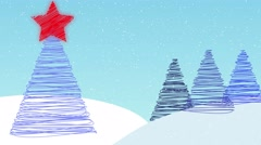 Snow scape Christmas tree background animation elegant drawn on effect Stock Footage