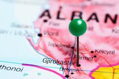 Gjirokastra pinned on a map of Albania Stock Photos
