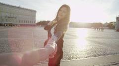 Photographer follows model Stock Footage