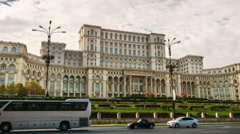 Palace of the Parliament, Bucharest, Romania,  Timelapse with Sky and Traffic Stock Footage