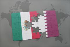 Puzzle with the national flag of mexico and qatar on a world map background. Kuvituskuvat