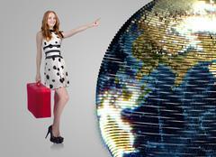 Woman in world travel concept Stock Photos
