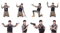 Soldier with gun isolated on white Stock Photos