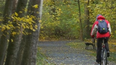 Man Riding a Bicycle Away Autumn Day in Park Alley Cyclist is Resting Among Stock Footage