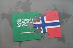 Puzzle with the national flag of saudi arabia and norway on a world map backg Stock Photos