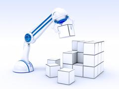 Robotic Hand with cubes Stock Illustration