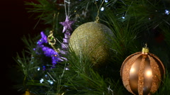 Christmas Tree with jewel color decorations, close up focus on baubles, stati Stock Footage