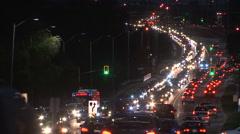 Heavy traffic gridlock at night Stock Footage