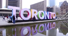 Iconic Toronto sign at city hall downtown Stock Footage