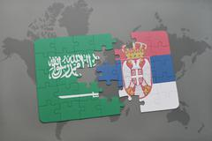 Puzzle with the national flag of saudi arabia and serbia on a world map backg Stock Illustration