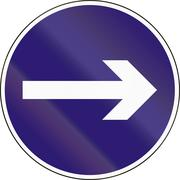 Road sign used in Hungary - Turn right Stock Illustration