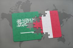 Puzzle with the national flag of saudi arabia and peru on a world map backgro Stock Illustration