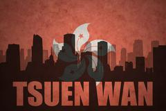 Abstract silhouette of the city with text Tsuen Wan at the vintage hong kong  Stock Illustration