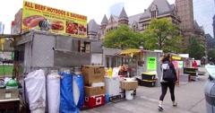 Toronto hot dog and food street vendors Stock Footage