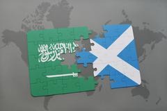 Puzzle with the national flag of saudi arabia and scotland on a world map bac Stock Illustration