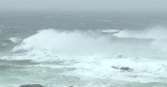 Huge Waves And Blowing Sea Spray In Hurricane Stock Footage