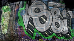 Mixing graffiti and garages Stock Footage