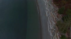 Bird's Eye Aerial of Coastal Beach Stock Footage