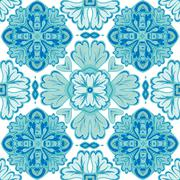 Gorgeous seamless patchwork pattern from dark blue and white Moroccan Stock Illustration