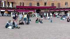 Tourists, Piazza Del Campo, Siena Italy Stock Footage