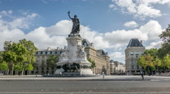 Paris. The Place de la Republique with the bronze statue of Marianne Stock Footage