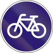Road sign used in Hungary - Track for cycles and mopeds Stock Illustration