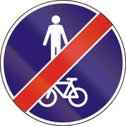 Road sign used in Hungary - End of shared lane for pedestrians and cyclists Stock Illustration