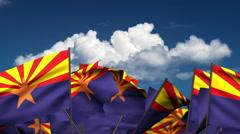 Waving Arizona State Flags Stock Footage