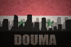 Abstract silhouette of the city with text Douma at the vintage syrian flag ba Stock Illustration