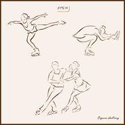 Figure skating. Skaters perform exercises Stock Illustration