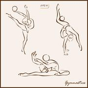 Sport and gymnastics. Acrobatic movements Stock Illustration