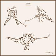 Ice Hockey. Hockey players on the move Stock Illustration