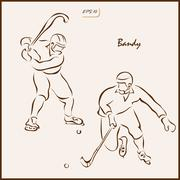 Collage on the theme of winter sports. Bandy Stock Illustration