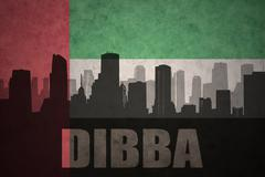 Abstract silhouette of the city with text Dibba at the vintage united arab em Stock Illustration