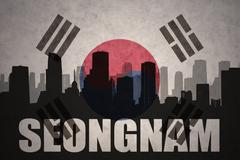 Abstract silhouette of the city with text Seongnam at the vintage south korea Stock Illustration
