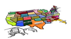 Demonstration map of the usa Stock Footage